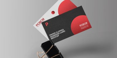 Clipped Business Card Design Mockup PSD