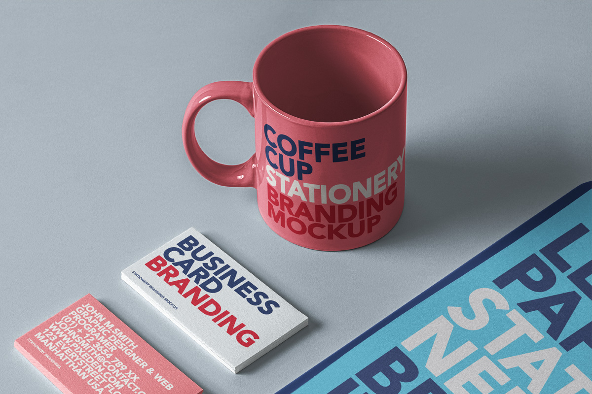 Free Download Coffee Cup Stationary Branding Mockup PSD