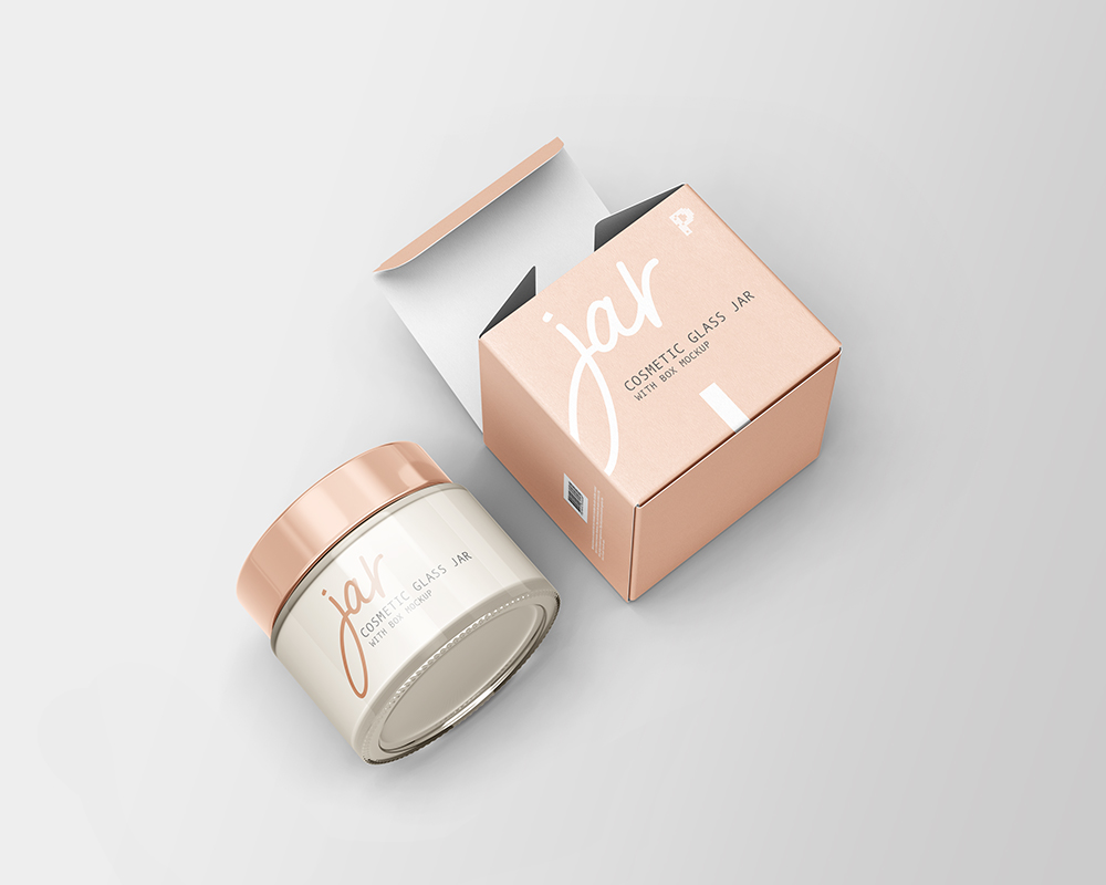 Free Download Cosmetic Jar with Box Packaging Mockup PSD