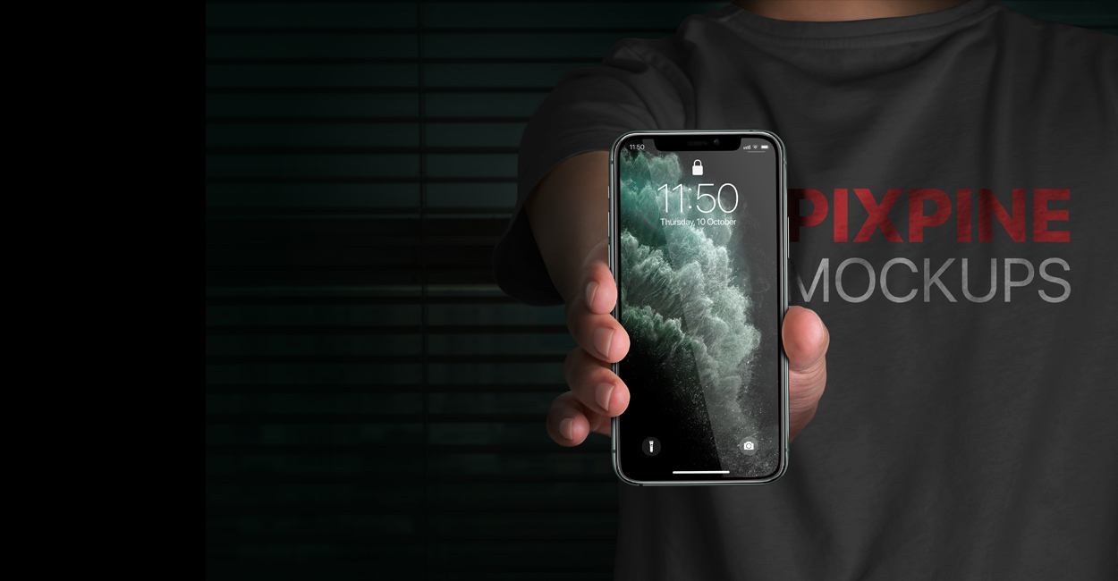 Free Download Hand Holding iPhone Screen Mockup PSD