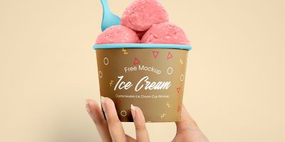 Free Download Ice Cream Cup Packaging Design Mockup PSD