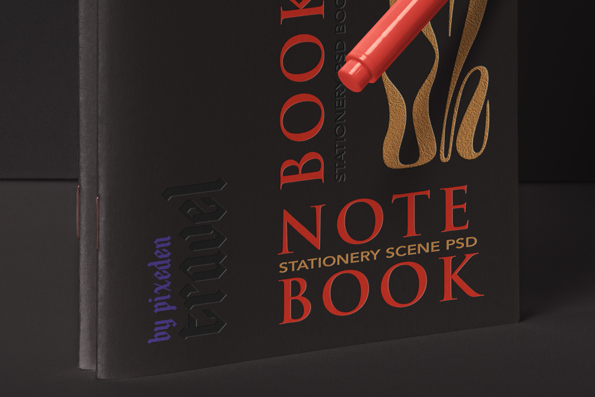 Free Download Luxury Black Notebook Cover Mockup PSD