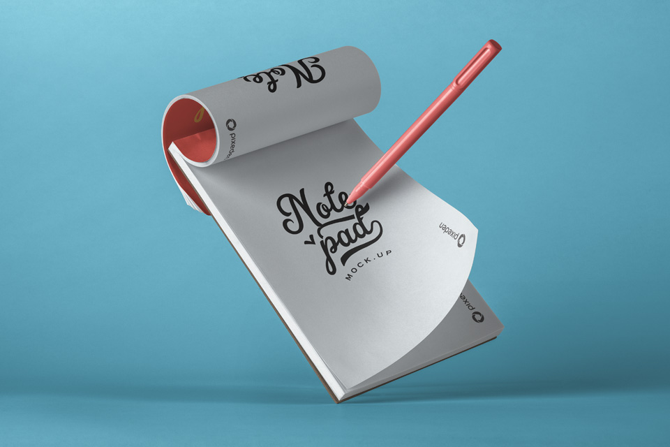 Free Download Notepad with Pen Mockup PSD