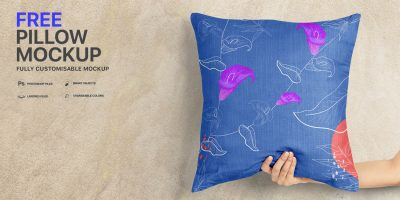 Free Download Pillow Cover Design Mockup PSD