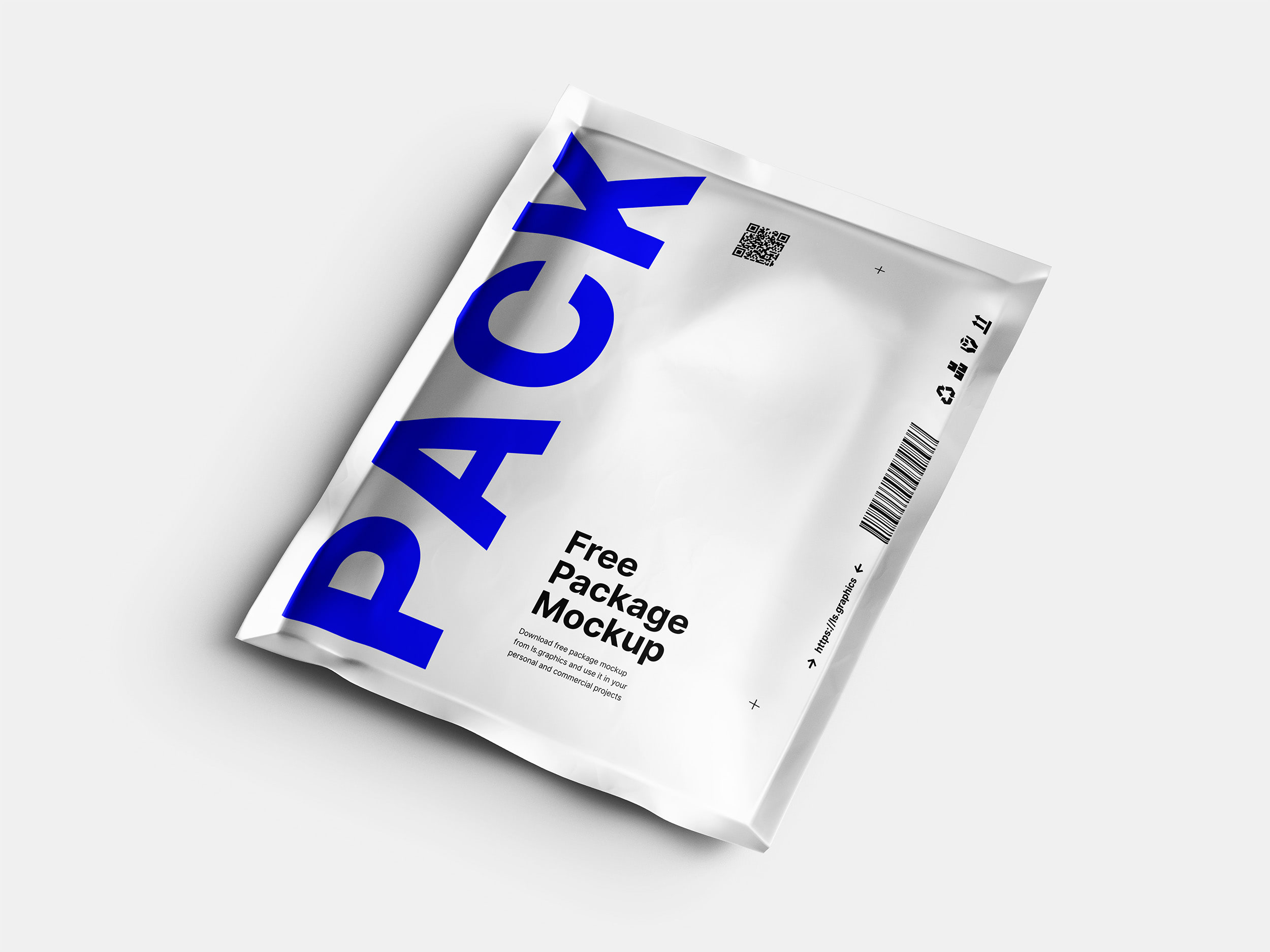 Free Download Silver Pouch Packaging Mockup PSD