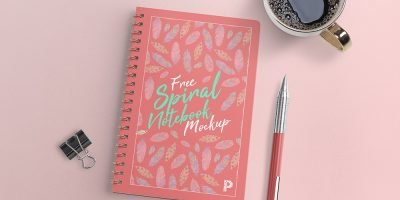 Spiral Notebook with Pen Mockup PSD