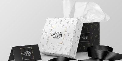 Free Download Square Gift Box Packaging Mockup PSD