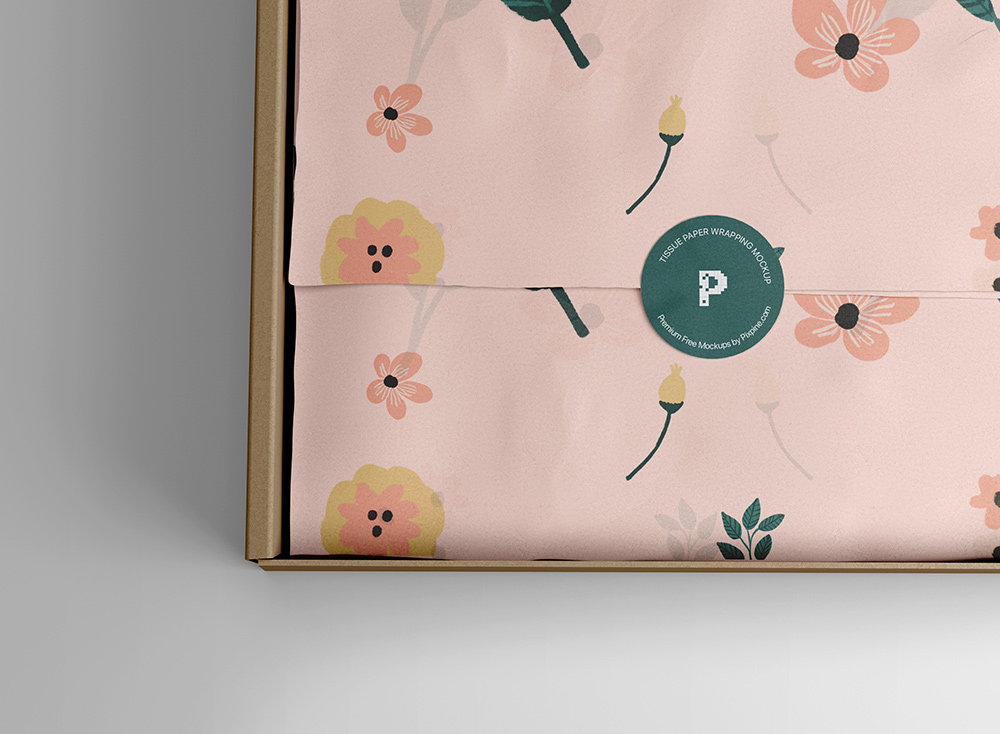 Free Download Tissue Wrapping Box Mockup PSD