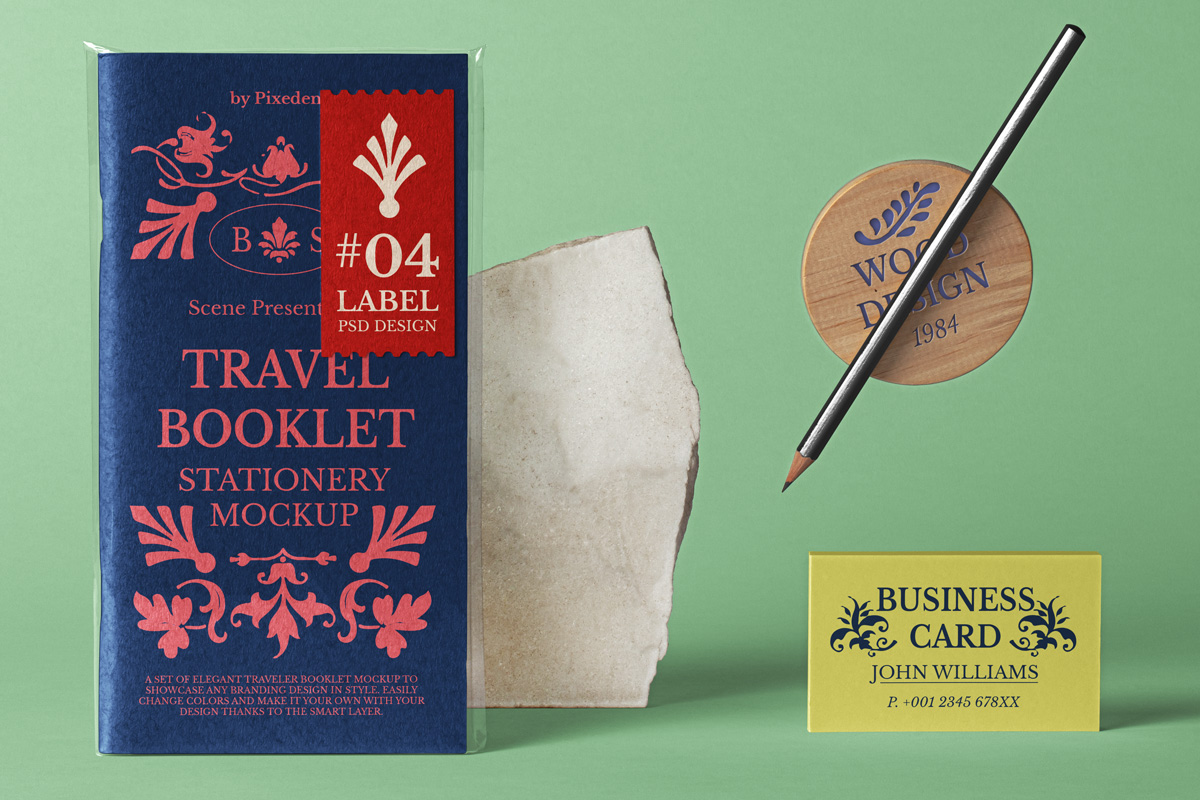 Free Download Travel Book Cover Design Mockup PSD